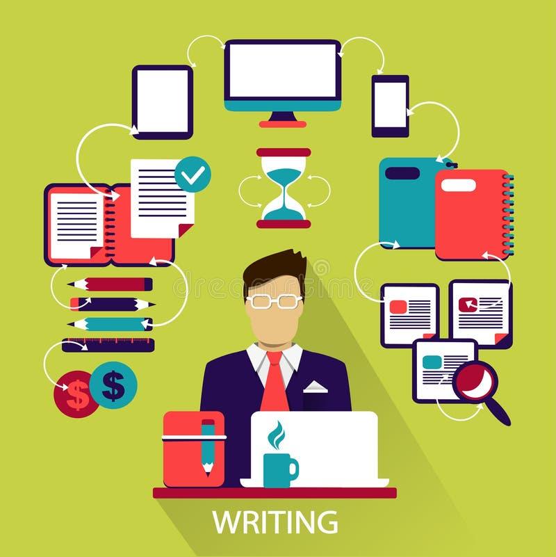 Flat design . Freelance career. Writing. royalty free illustration