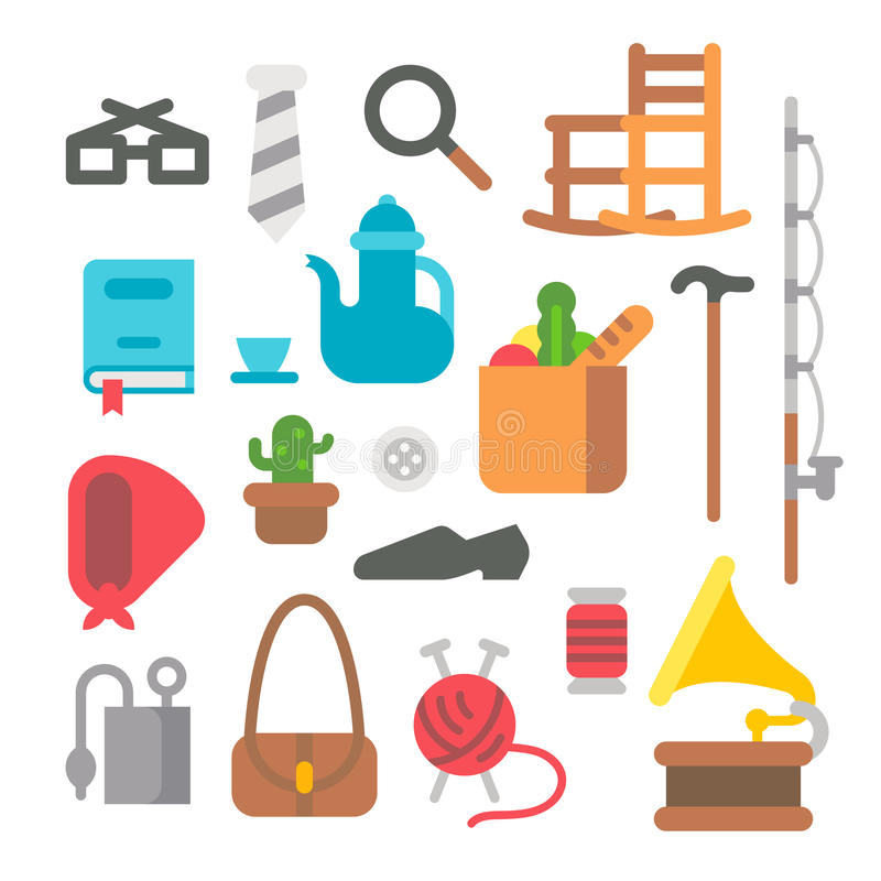 Flat design grandparents items. Illustration vector illustration
