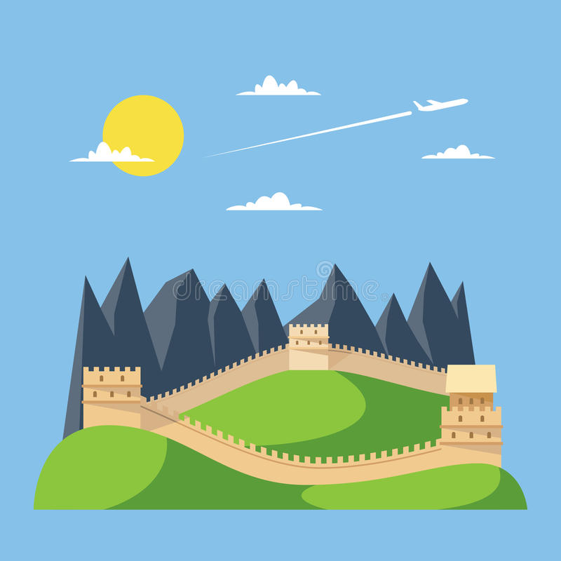 Flat design great wall of China royalty free illustration
