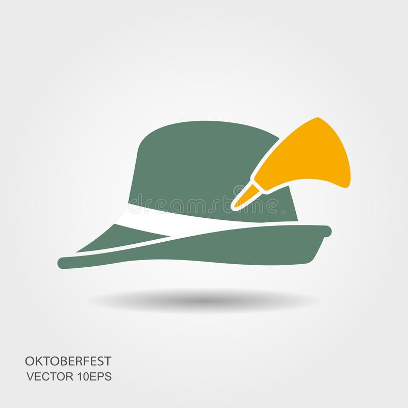 Flat design green oktoberfest hat on white background royalty free illustration