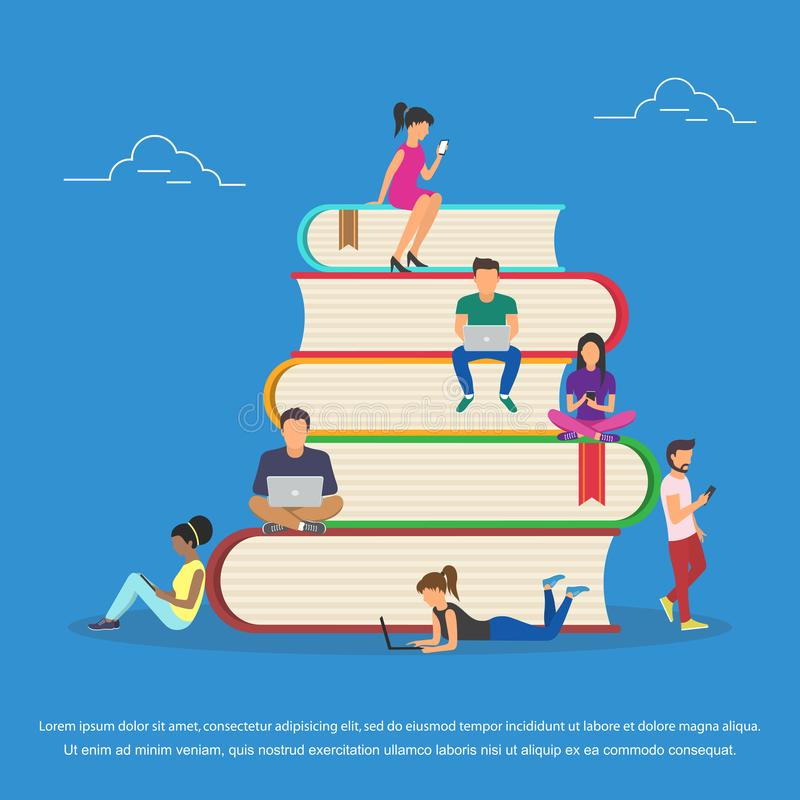 Flat design of guys and young women sitting on the books and reading for self education. Flat design. Flat design of guys and young women sitting on the books stock illustration