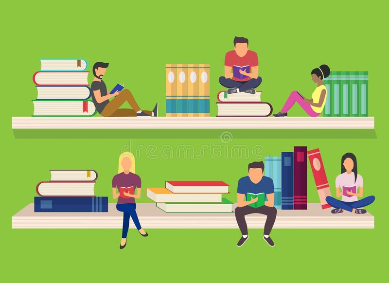 Flat design of guys and young women sitting on on the shelves. And reading for self education vector illustration