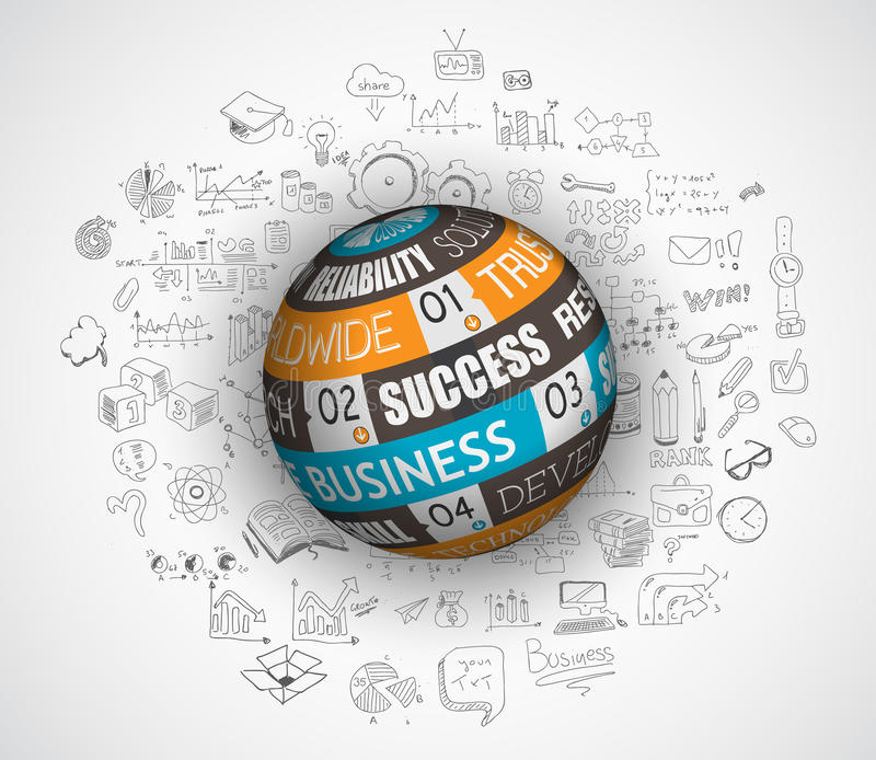 Flat design and hand drawn concepts for business success stock illustration