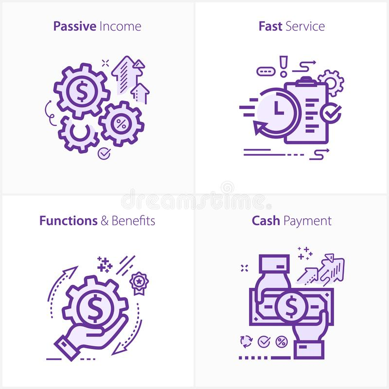 Flat design icon passive income / Fast Service / Functions & Benefits / Cash payment. Vector Flat Icon Illustration EPS 10 vector illustration