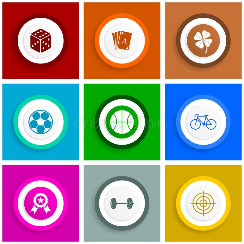 Flat design icon set, internet illustrations, sport, gambling, dice, playing cards, bicycle and balls signs stock illustration