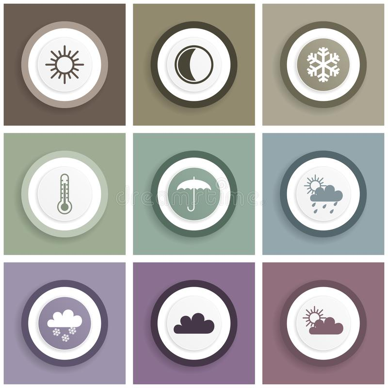 Flat design icon set, internet illustrations, weather forecast signs.  royalty free illustration
