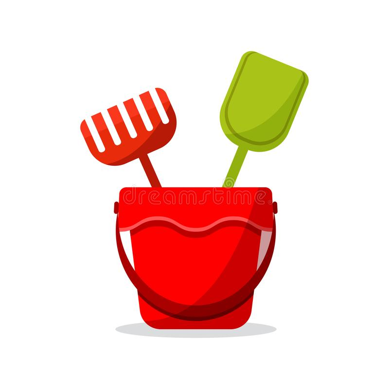 Flat design icon of toys for sandbox: red baby bucket, rake, scapula. Colored objects isolated on white background with shadow. Vector cartoon style stock illustration
