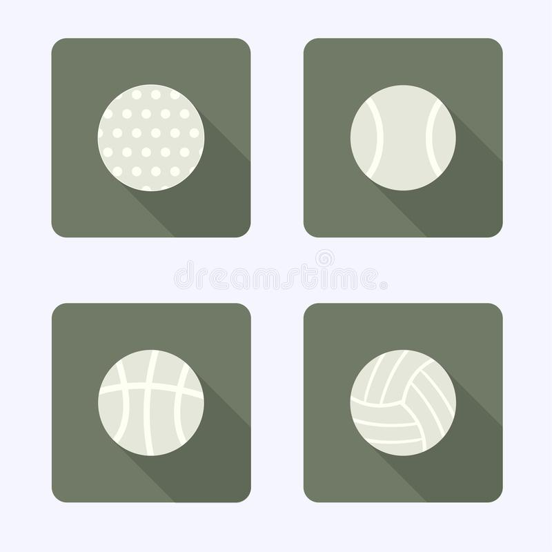 Flat Design Icons, Ball Games, Collection stock illustration
