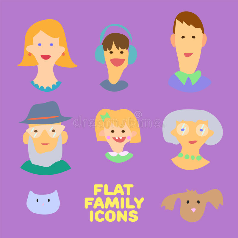 Flat design icons collection of family members avatars: mom, dad, son, daughter, grandmother, grandfather, dog and cat. Vector col stock illustration