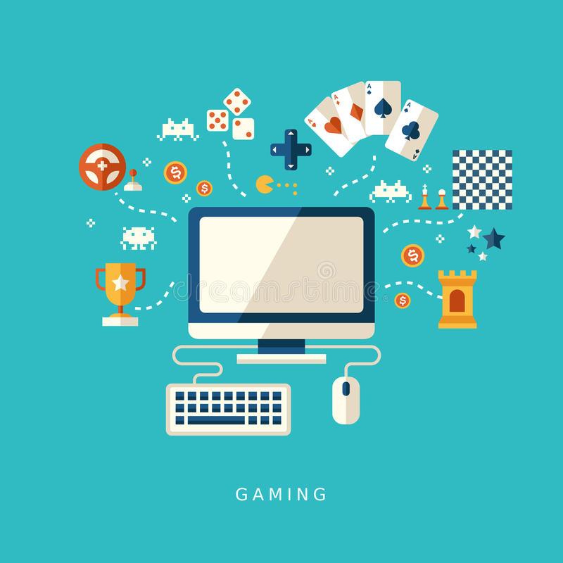Flat design icons concept of computer games vector illustration