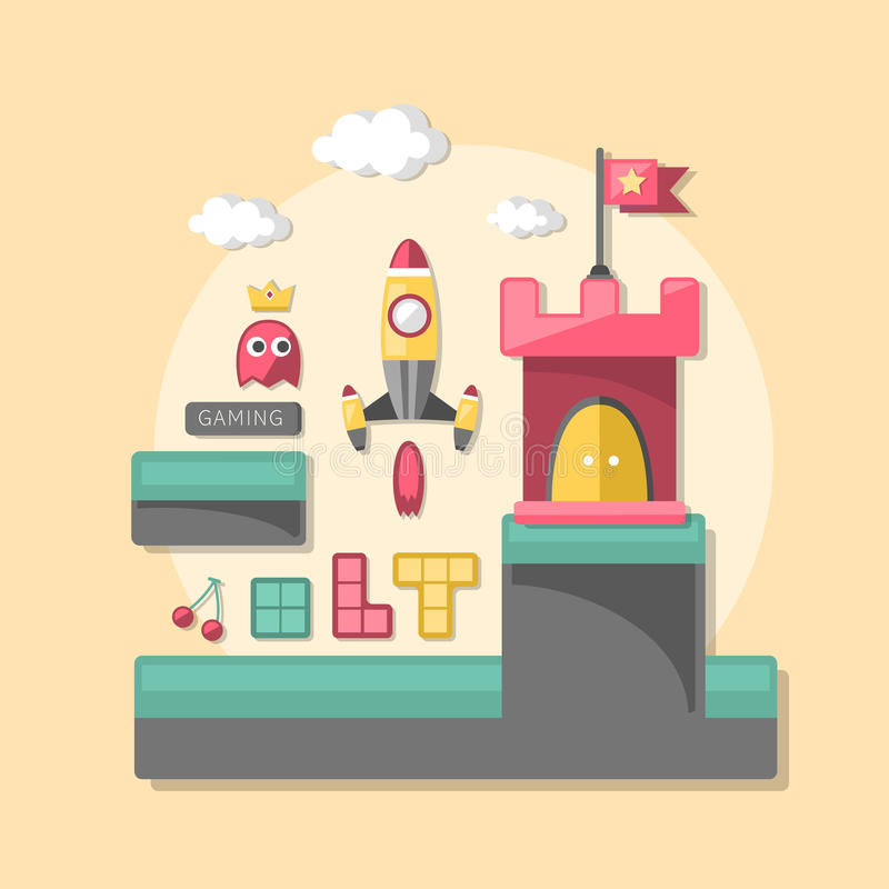 Flat design icons concept of computer games. For interface stock illustration