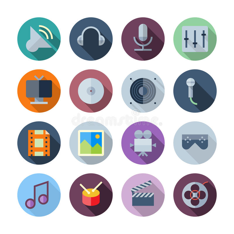 Free Flat Design Icons For Sound And Music Royalty Free Stock Images - 39551259