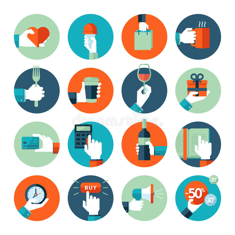 Flat design icons, hand using variety of products. Hand giving heart, using food and drink, in business situations, in shopping, reading
