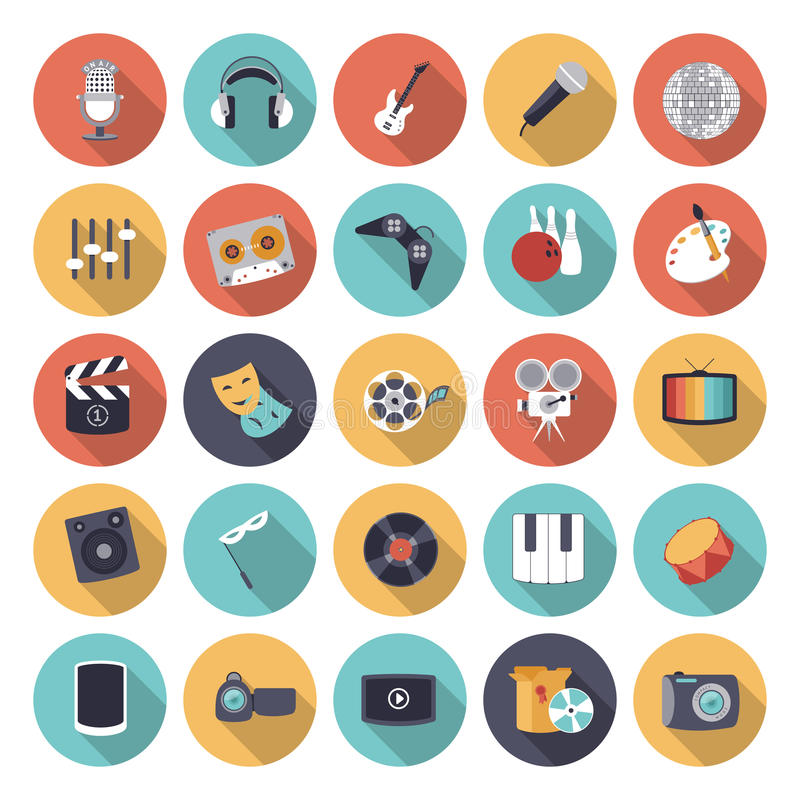 Flat design icons for leisure and entertainment royalty free illustration
