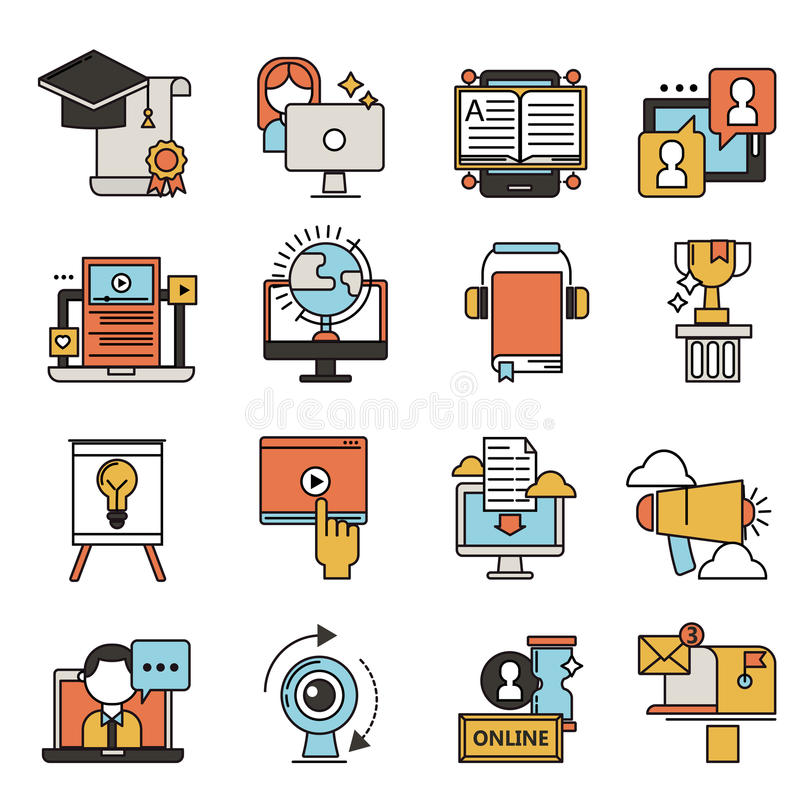 Flat design icons online education staff training book store distant learning knowledge vector illustration royalty free illustration