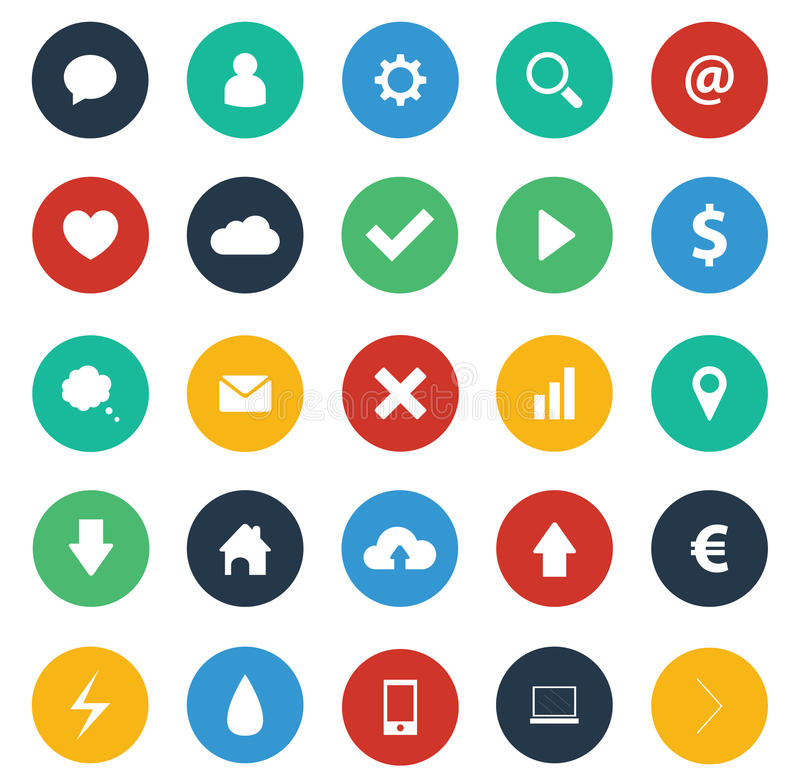 Flat design icons pack stock illustration