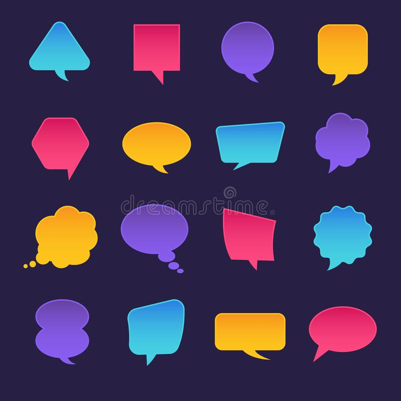 Flat design icons set bubble message for text. Vector illustrations. royalty free illustration