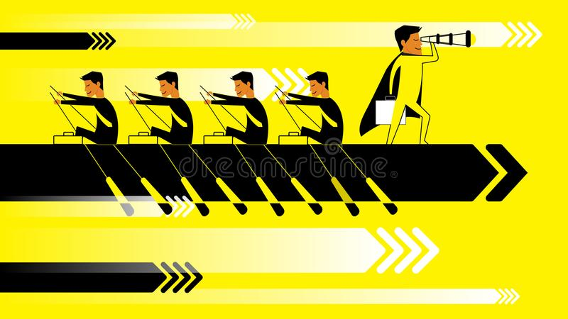 Flat design illustration concept for business startup success, team work, planning, project management, strategy and royalty free illustration