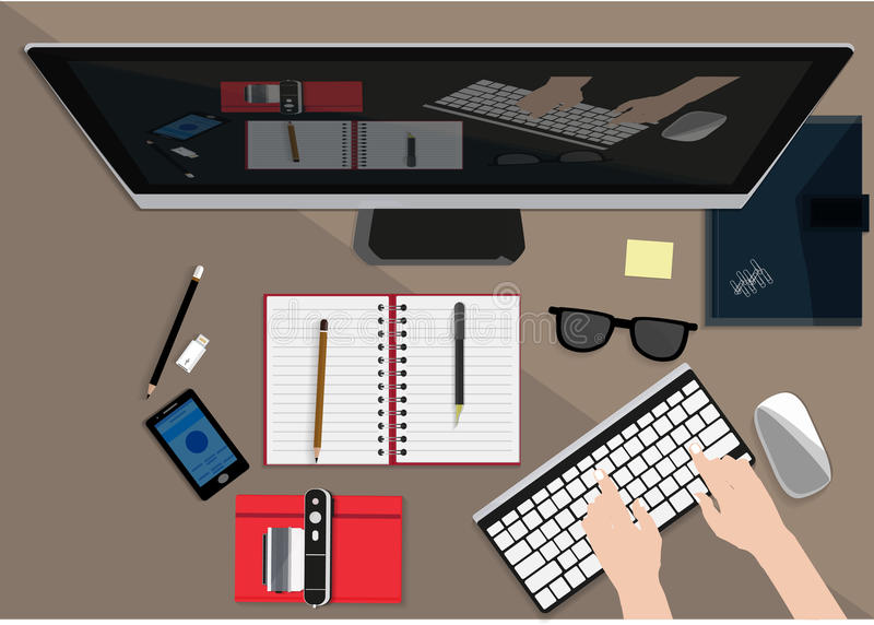 Flat design illustration concept for working place at office, workspace. Modern Working place illustration. Flat design illustration concept for working place at