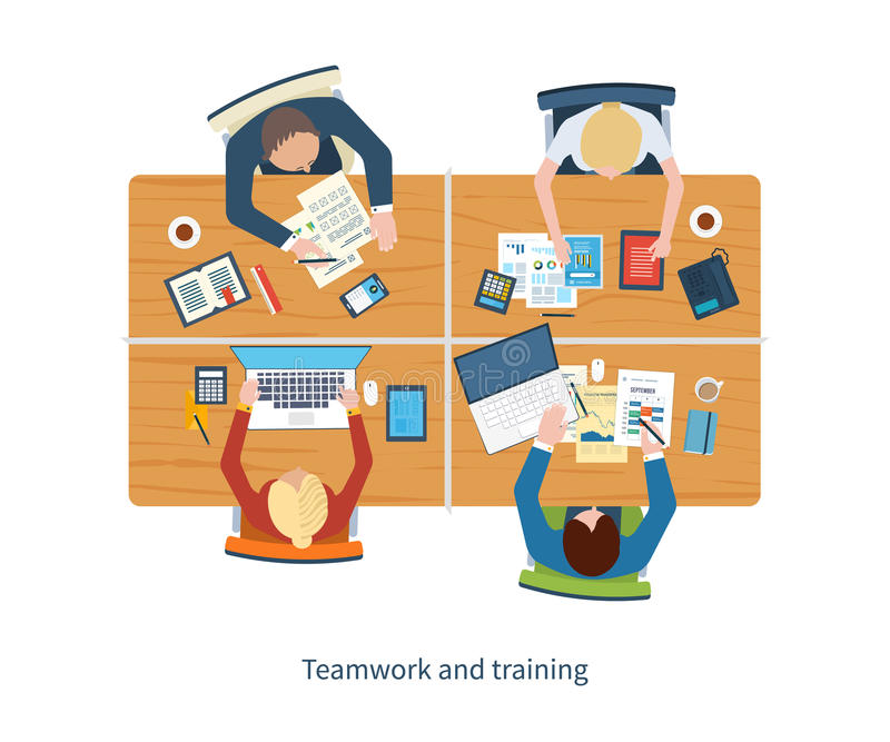 Flat design illustration concepts for business analysis on meeting, team work, financial report, project management and. Development. Top view banner stock illustration