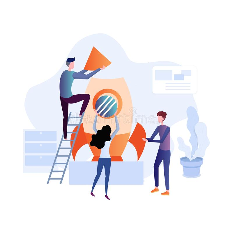 Flat design illustration concepts for business analysis and planning. Consulting, team work, project management, financial report and strategy . Concepts web stock illustration