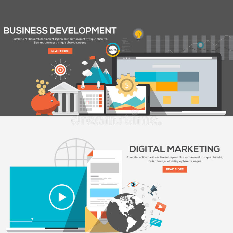 Flat design illustration concepts. For Business development and Digital marketing. Concepts web banner and printed materials.Vector stock illustration