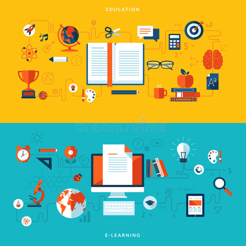 Flat design illustration concepts of education an royalty free illustration