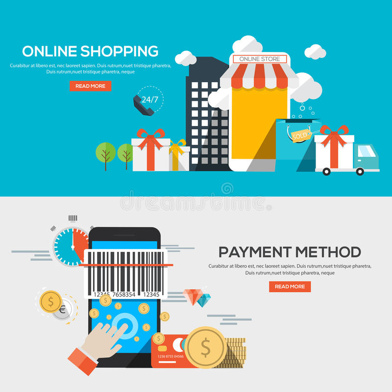 Flat design illustration concepts. For Online shopping and Payment method. Concepts web banner and printed materials.Vector royalty free illustration