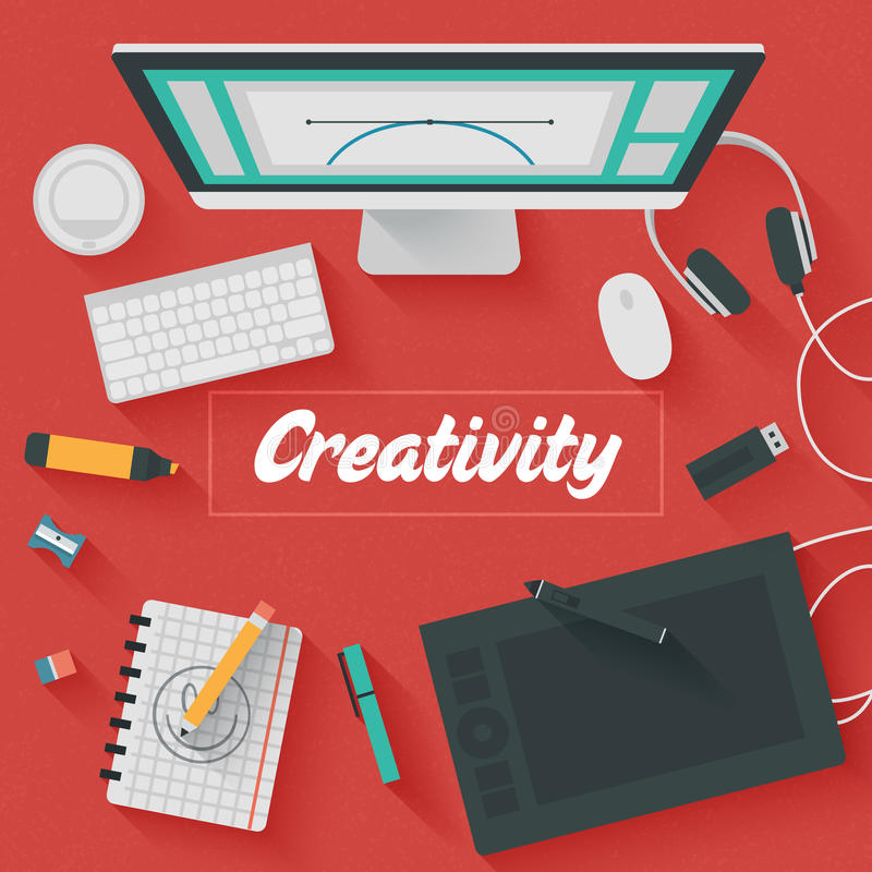 Flat Design Illustration: Creative office. Trendy Flat Design Illustration: Creative office workplace. Icons set of business work flow items, elements and royalty free illustration