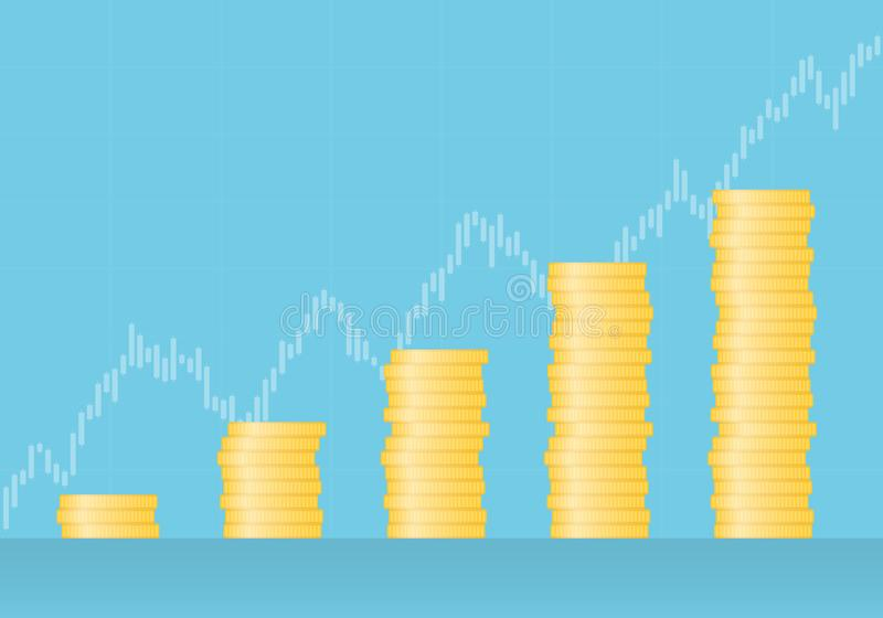Flat design illustration of graph made of gold coins with growing trend and candle chart in the background, vector stock illustration