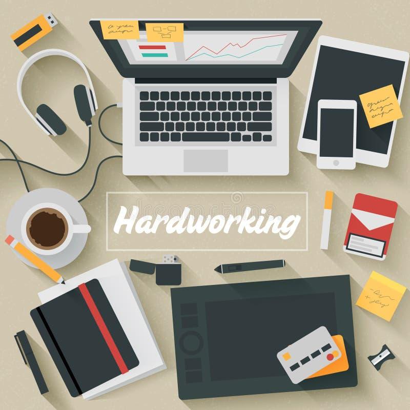 Free Flat Design Illustration: Hardworking Stock Photo - 46036820