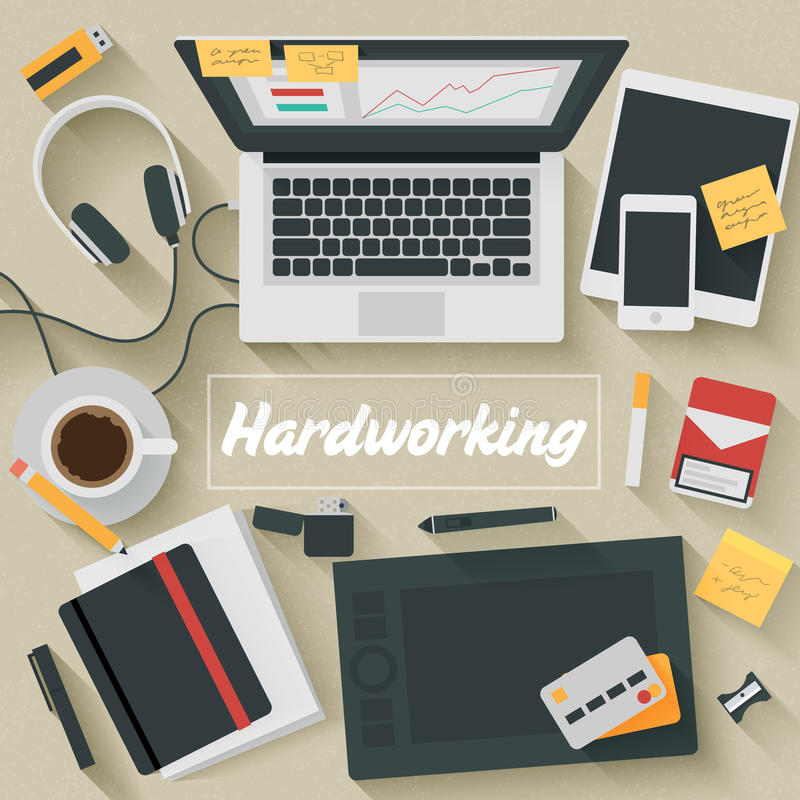 Flat Design Illustration: Hardworking. Trendy Flat Design Illustration: Hardworking. Icons set of business work flow items, elements and gadgets vector illustration