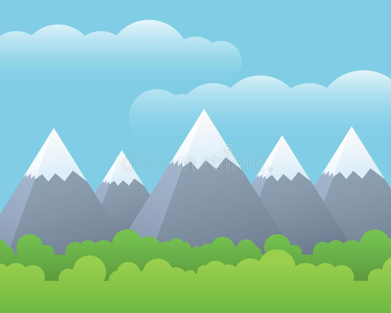Flat design illustration of landscape with green forest and mountains with snow on the top, under blue sky with clouds - with sp stock illustration