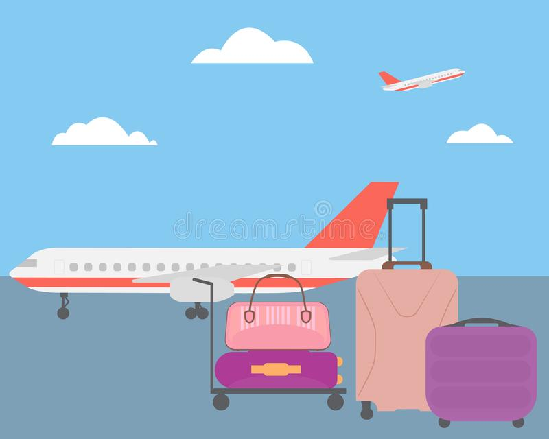 Flat design illustration of luggage at the airport with airplane royalty free illustration
