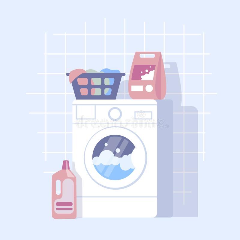 Flat design illustration of modern laundry with washing machine royalty free illustration