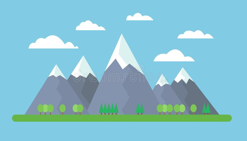 Flat design illustration of mountains on meadow with trees on foreground under blue sky with clouds.  royalty free illustration