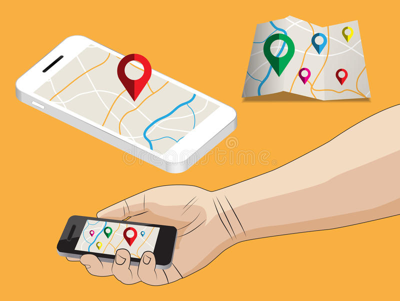 Flat design illustration of navigation application. Hand hold smart phone stock illustration