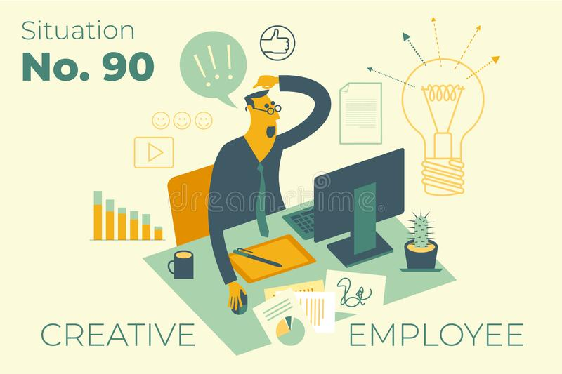 Flat design illustration for presentation, web, landing page, infographics: cartoon character of creative employee, designer or co. Pywriter on working meta in vector illustration