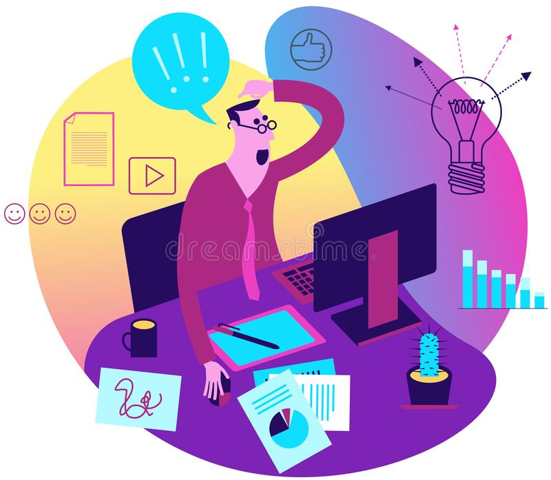 Flat design illustration for presentation, web, landing page, infographics: cartoon character of creative employee, designer or co. Pywriter on working meta in royalty free illustration