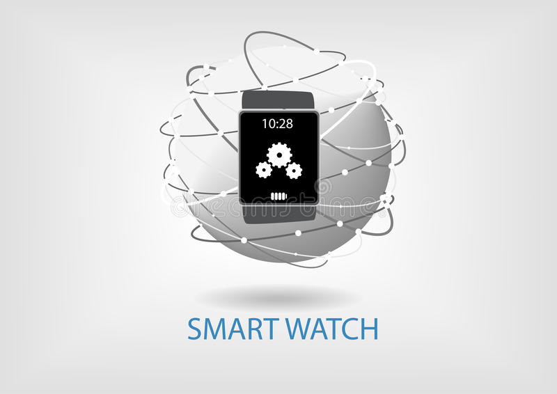 Flat design illustration. Smart watch connected to the world wide web. Visualized via globe and device stock illustration