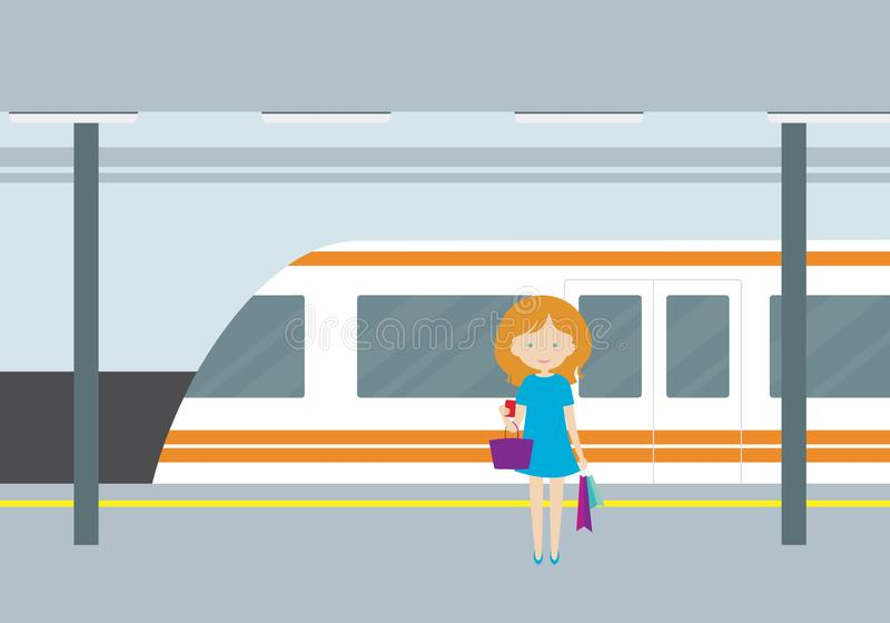 Flat design illustration of a subway station with a train, light. S and passenger woman with a ticket and bags in hand - vector vector illustration