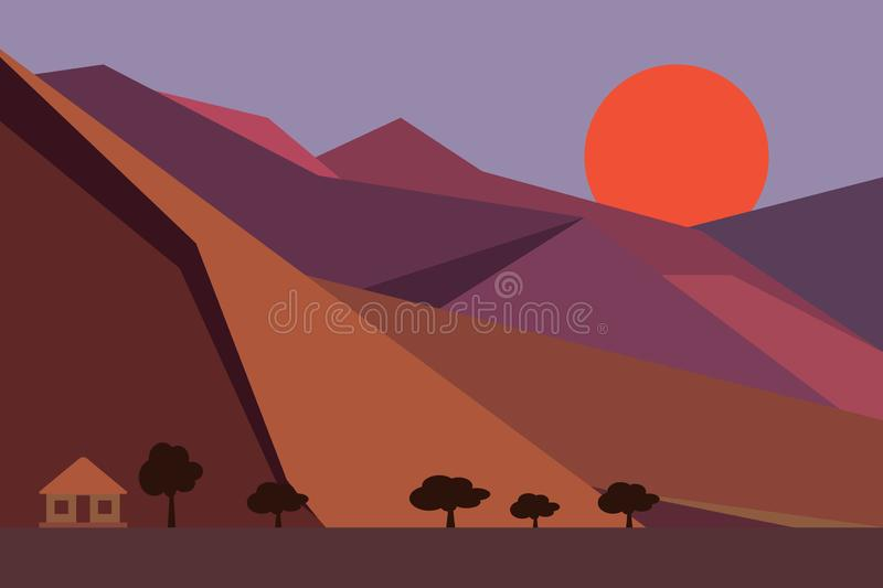 Flat design Illustration of sunrise on the mountain with little house and tree. Concept of the start of the day and new beginning royalty free stock photography