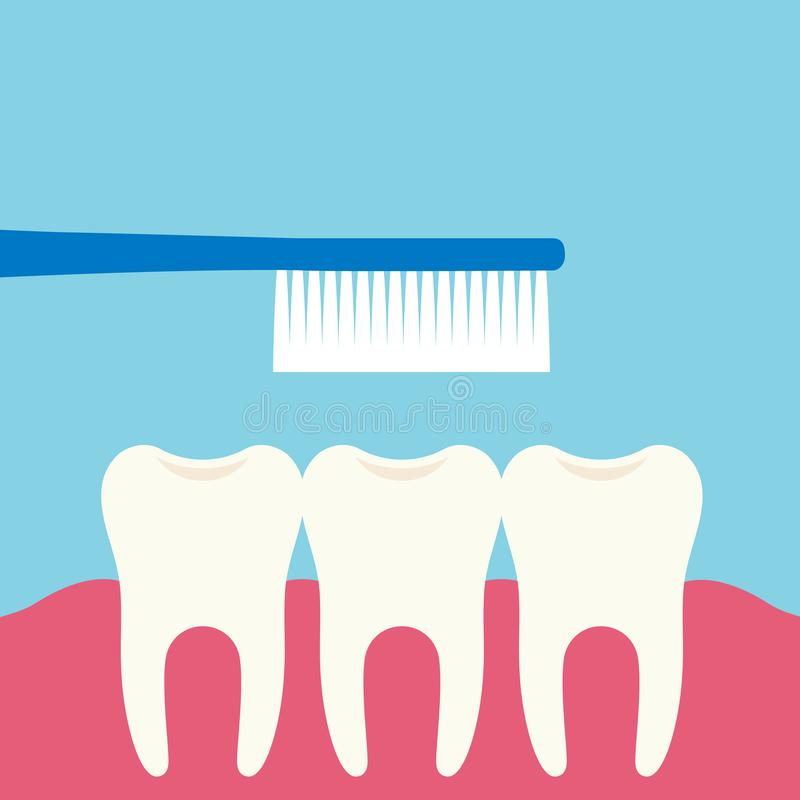 Flat design illustration of three teeth, toothbrush and pink gums. Teeth care isolated on green-blue background, vector vector illustration