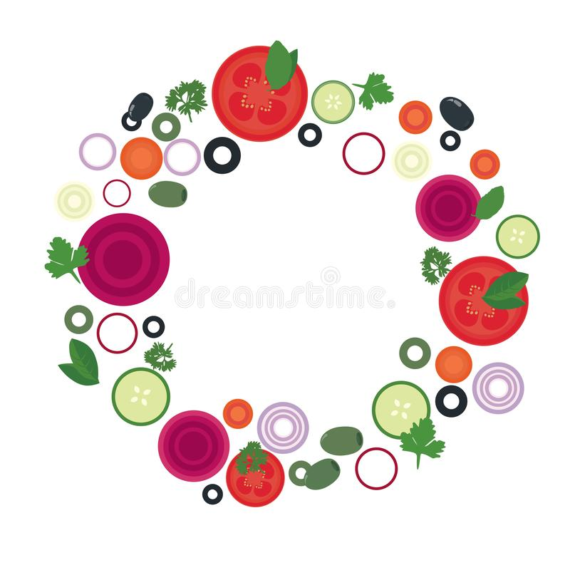 Flat design illustration of tomato, beet and cucumber slices with olives and different vegetables in circle, with space for text, vector illustration