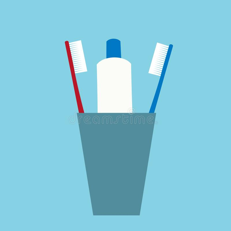 Flat design illustration of two toothbrushes and tubes of toothpaste in a cup. Dental care isolated on blue-green background, stock illustration