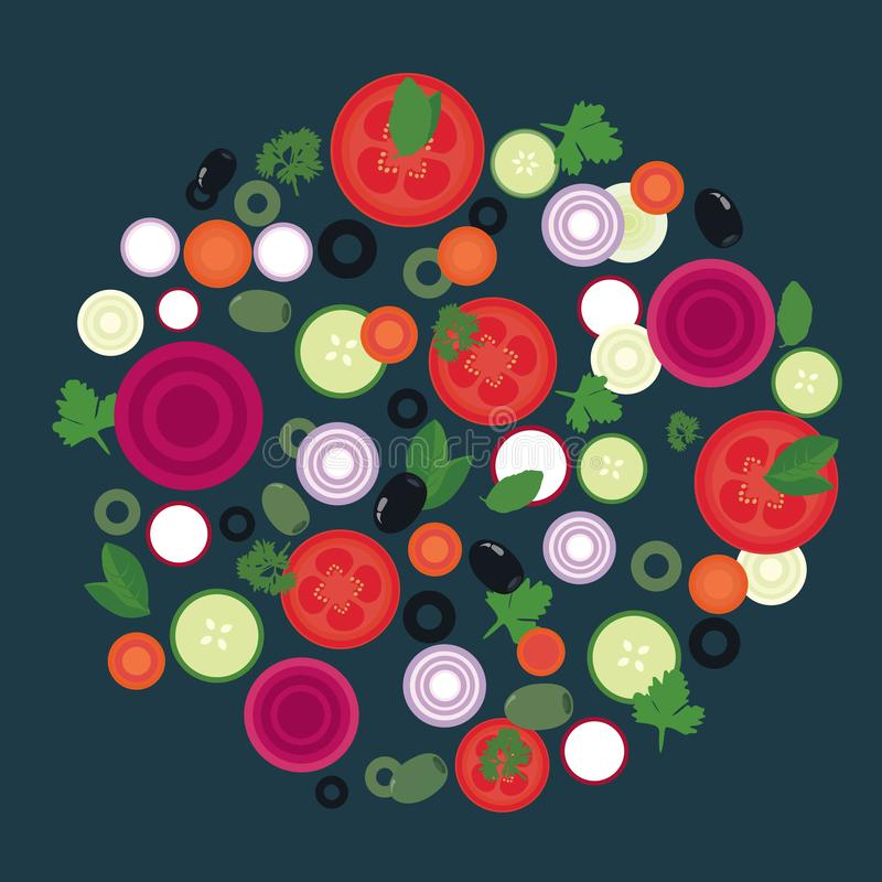 Flat design illustration of vegetable slices in circular layout, suitable for menu for cooking or food, vector stock illustration
