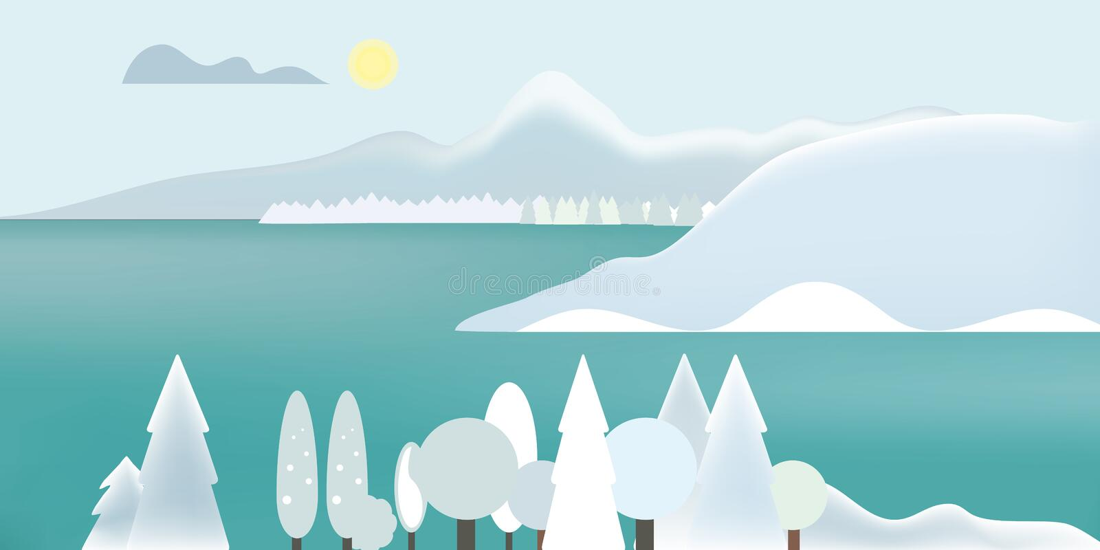 Flat design illustration of winter mountain landscape with lake, snow on top of mountains and snowy trees, under gray sky with cl royalty free illustration