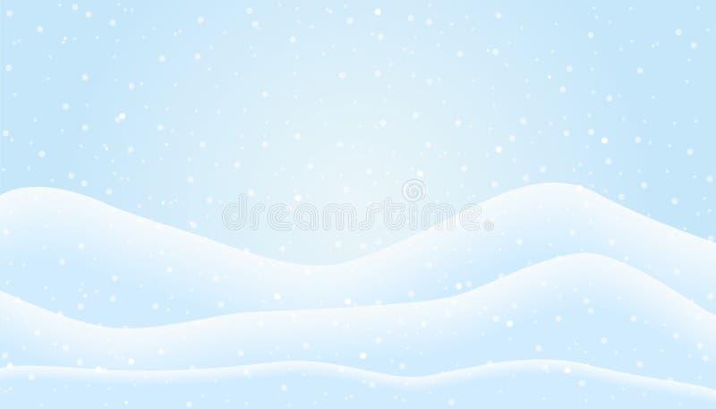 Flat design illustration of winter mountain landscape with snowf vector illustration