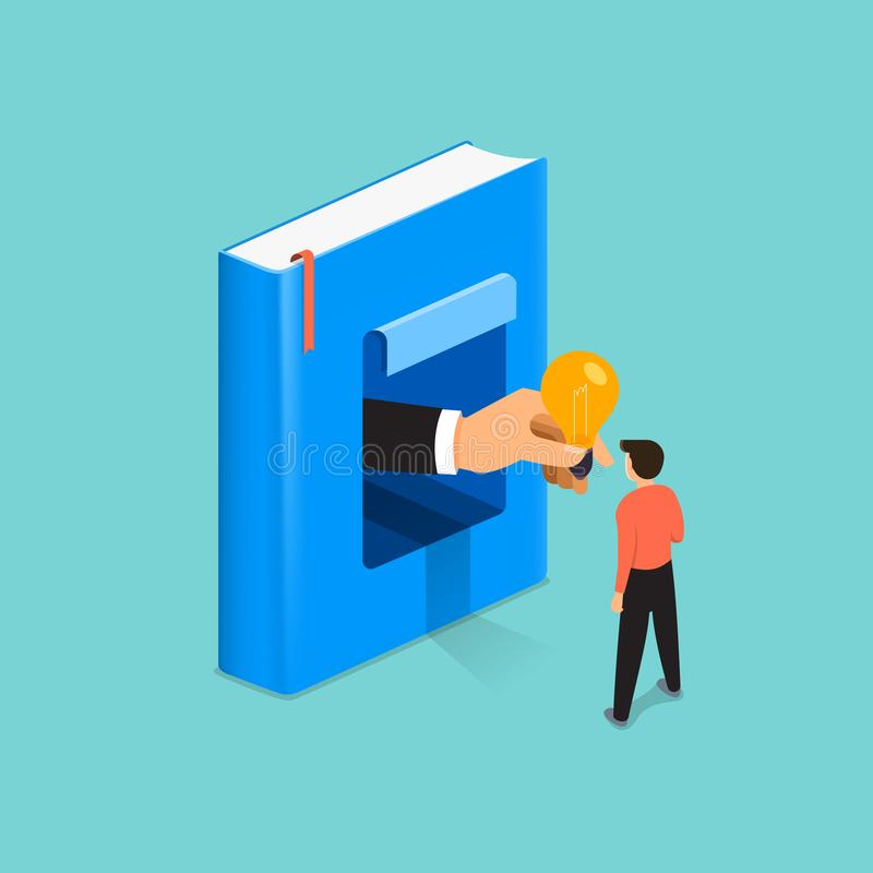 Flat design illustrations concept book is knowledge and big idea royalty free illustration