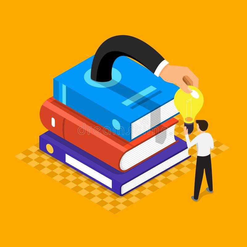 Flat design illustrations concept book is knowledge and big idea stock illustration